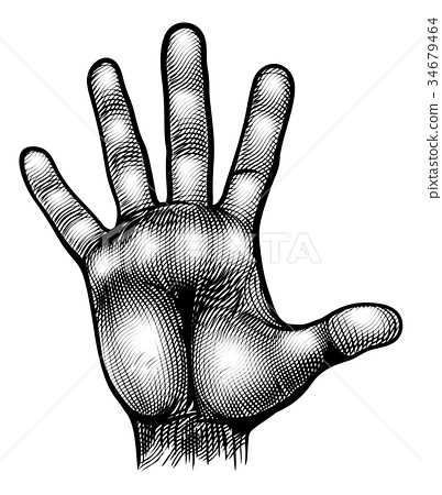 Hand Palm Body Part Vinatge Woodcut 34679464