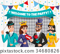 Carnival Photo Booth Party People Composition 34680826