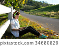 Young women relaxation listening music 34680829