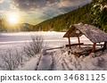 sunset, wooden, snow 34681125