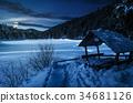 winter, night, wooden 34681126