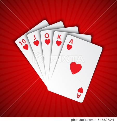 A royal flush of hearts on red background 34681324