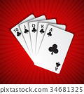 A royal flush of clubs on red background 34681325