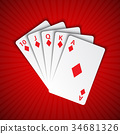 A royal flush of diamonds on red background 34681326