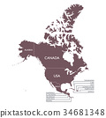 Detailed Map of North America continent with name 34681348
