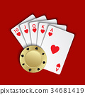 A royal flush of hearts with gold poker chip 34681419