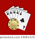 A royal flush of clubs with gold poker chip 34681420