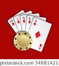 A royal flush of diamonds with gold poker chip 34681421