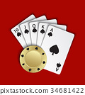 A royal flush of spades with gold poker chip 34681422