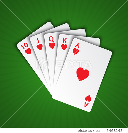 A royal flush of hearts on green background 34681424