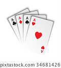 Set of aces, ace of spades, herts, clubs, diamonds 34681426