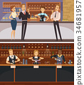 Party In Bar Interior Cartoon Banners 34681957