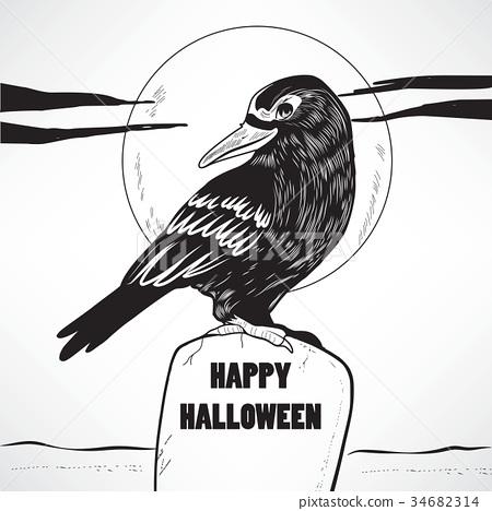 Crow Halloween Grave 34682314