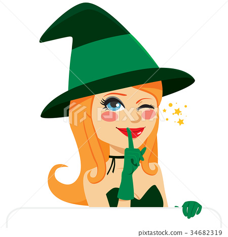 Halloween Witch winking 34682319