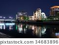 atomic bomb dome, world heritage, night scene 34683896