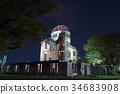 ทิวทัศน์ยามค่ำคืนของ Atomic Bomb Dome 34683908