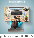 Designer Top View Illustration 34684674