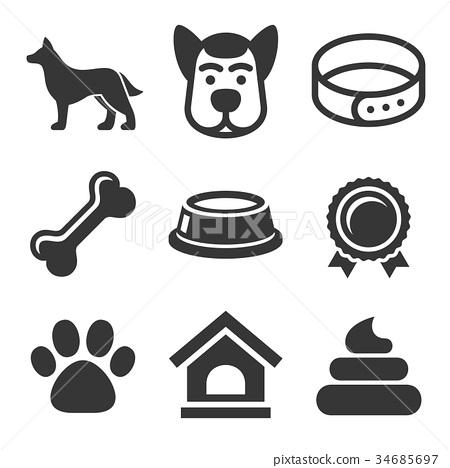 Dog Icons Set on White Background. Vector 34685697