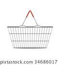 empty shopping basket realistic illustration 34686017