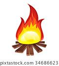 Bonfire With Wood Burning 34686623