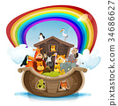 Noah's Ark With Rainbow 34686627