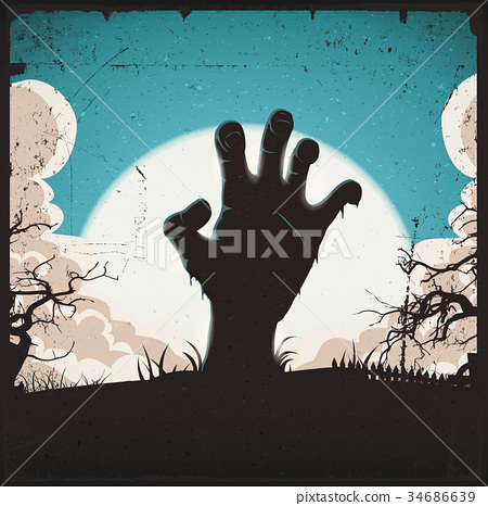 Undead Zombie Hand On Halloween Background 34686639