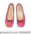 水彩畫 芭蕾舞鞋 鞋 34686883
