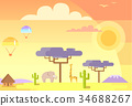 African Landscape with Animals and Specific Plants 34688267