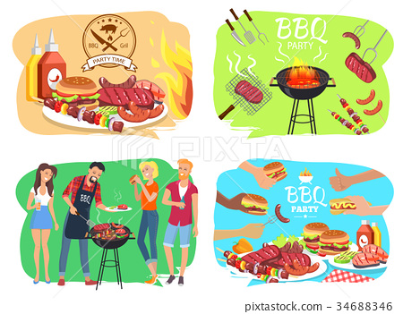 Barbecue Party with Roasted Meet Illustrations Set 34688346