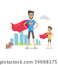 Father and Adorable Son Superheroes. Fatherhood 34688375