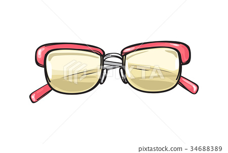 Fashionable Glasses with Coral Frame Illustration 34688389