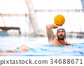 Water polo player in a swimming pool. 34688671