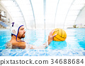 Water polo player in a swimming pool. 34688684