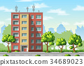 Illustration of a modern family house with trees 34689023