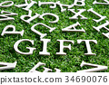 Wood alphabet in wording gift on green grass 34690076