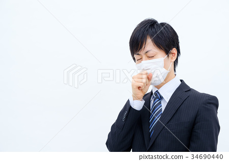 A coughing businessman 34690440