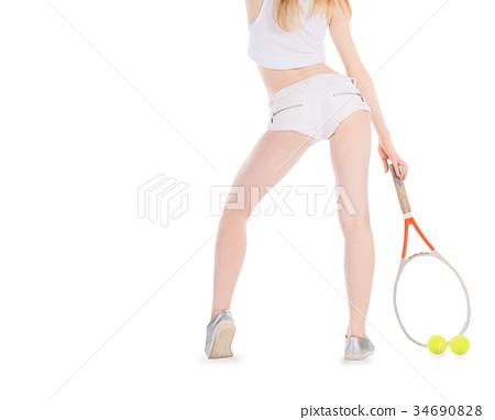 Woman playing tennis waiting tennis ball  34690828