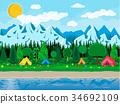 vector, meadow, camp 34692109