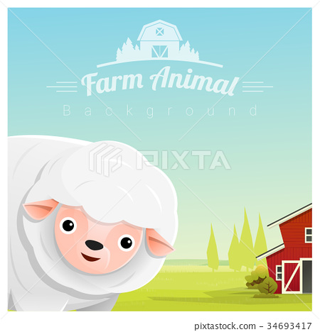 Farm animal and Rural landscape with sheep 34693417