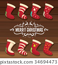 vector cartoon cute christmas stocking or socks 34694473