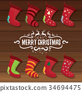 vector cartoon cute christmas stocking or socks 34694475