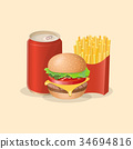 Burger, fries and soda in a tin can - cute cartoon 34694816