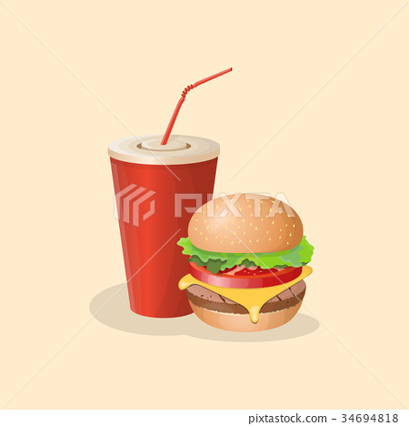 Burger and soda cup - cute cartoon colored picture 34694818