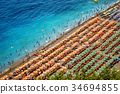 Aerial photo of tourists on a beach in Positano 34694855