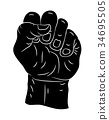 clenched fist  vector symbol icon design. 34695505