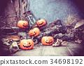 Halloween pumpkin, trick or treat in autumn season 34698192