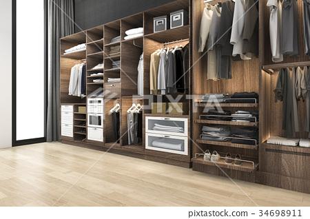 scandinavian walk in closet with wood wardrobe 34698911