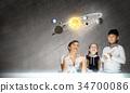 space, boy, woman 34700086