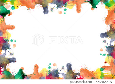 Frame of blots and splashes from watercolor paints 34702715