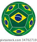 Soccer ball with Brazilian flag 34702719